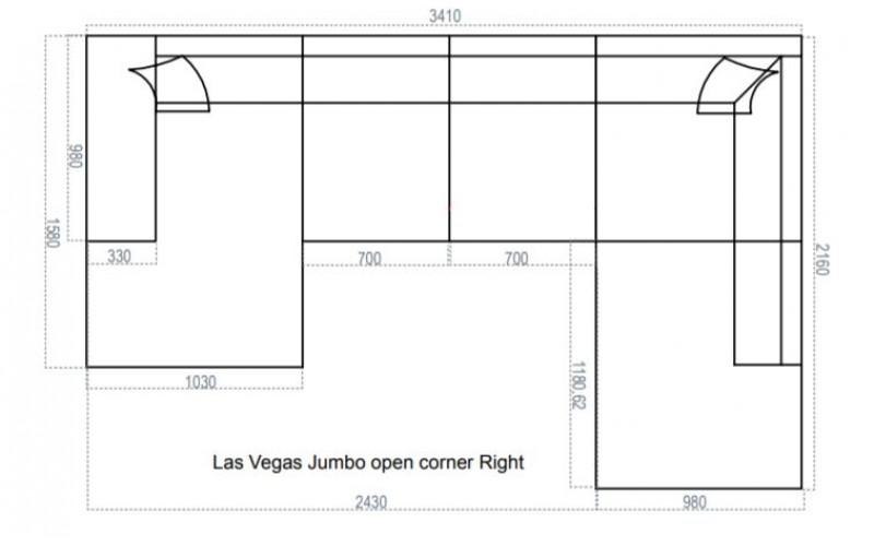 U-kujuline nurgadiivan JUMBO Las Vegas